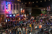 The annual Republic of Texas Biker Rally has become quite the early summer Austin tradition. The event has drawn as many as 35,000 paying customers to the event grounds. City officials have estimated that the Friday night street party in downtown draws as many as 200,000 spectators to dirty sixth street bar district.