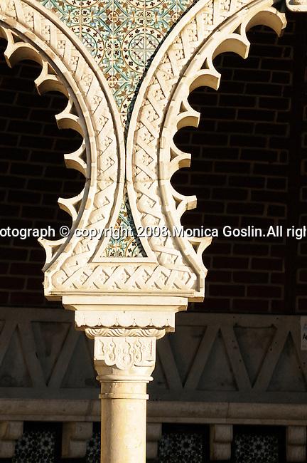 Detail of a column of a Moorish fountain in Sintra, Portugal.