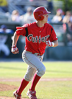 2007:  Caleb Mangum of the Williamsport Crosscutters, Class-A affiliate of the Philadelphia Phillies, during the New York-Penn League baseball season.  Photo By Mike Janes/Four Seam Images