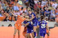 Morgan Brian (6) of the Houston Dash and Becky Edwards (14) of the Orlando Pride go up for a header on Friday, May 20, 2016 at BBVA Compass Stadium in Houston Texas. The Orlando Pride defeated the Houston Dash 1-0.