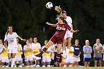 04 October 2012: UNC's Kelly McFarlane (right) heads the ball over Boston College's Patrice Vettori (18). The University of North Carolina Tar Heels defeated the Boston College Eagles 1-0 at Fetzer Field in Chapel Hill, North Carolina in a 2012 NCAA Division I Women's Soccer game.