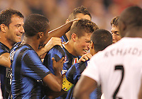 Cristiano Biraghi #34 of Inter Milan is overcome with emotion after scoring a long distance goal to make it 3-0 during an international friendly match against Manchester City on July 31 2010 at M&T Bank Stadium in Baltimore, Maryland. Milan won 3-0.