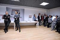 Roma, 5 Maggio 2012.Redazione del quotidiano l'Unità.presentazione del nuovo formato del giornale in edicola da 7 Maggio.Claudio Sardo, direttore de l'Unità, Fabrizio Meli, Amministratore Delegato