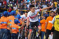 TUNJA - COLOMBIA, 11-02-2020: Cristian Muñoz (COL) del equipo UAE TEAM EMIRATES durante la primera del Tour Colombia 2.1 2020 que se correrá en Boyacá, Colombia entre el 11 y 16 de febrero de 2020. / Cristian Muñoz (COL) of he team UAE TEAM EMIRATES during the launch of Tour Colombia 2.1 2020 that that will run between February 11 and 16, 2020 in Boyacá, Colombia.  Photo: VizzorImage / Darlin Bejarano / Cont