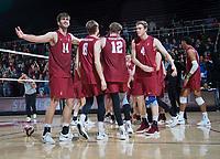 STANFORD, CA - March 2, 2019: Kyler Presho, Leo Henken. Jordan Ewert, Eric Beatty at Maples Pavilion. The Stanford Cardinal defeated BYU 25-20, 25-20, 22-25, 25-21.