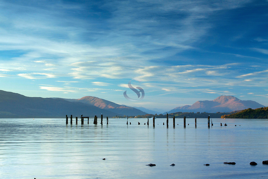 Ben Lomond, the Luss Hills and Loch Lomond from Loch Lomond Shores, Balloch, Loch Lomond and the Trossachs National Park, West Dunbartonshire