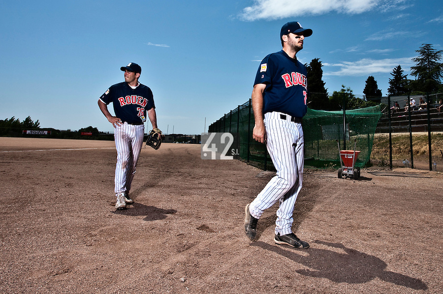 24 May 2009: Flavien Peron of Rouen and Olivier Israel of Rouen are seen prior to the final game during the 2009 challenge de France, a tournament with the best French baseball teams - all eight elite league clubs - to determine a spot in the European Cup next year, at Montpellier, France. Rouen wins 7-5 over Savigny.