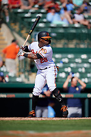 Baltimore Orioles left fielder Eric Young Jr (28) at bat during a Grapefruit League Spring Training game against the Tampa Bay Rays on March 1, 2019 at Ed Smith Stadium in Sarasota, Florida.  Rays defeated the Orioles 10-5.  (Mike Janes/Four Seam Images)