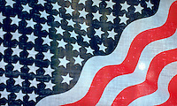 American flag poster displayed at an American Indian Pow Wow. Ft Snelling State Park Minnesota USA
