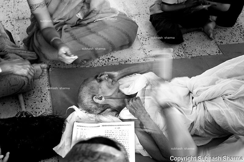 A Jain woman undergoing SANTHARA, a jain ritual of fasting unto death.
