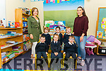 First day of school for junior infants front l-r Luke Kelleher, Caitlin Doherty and Joseph Daly, back l-r Denis O'Donoghue, Julia Tancred and Alan Murphy pictured with their teacher Siobhan Darcy (left) and SNA Kate O'Shea (right) at the Barraduff NS last Monday.