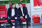 14.04.2019, Merkur Spielarena, Duesseldorf , GER, 1. FBL,  Fortuna Duesseldorf vs. FC Bayern Muenchen,<br />  <br /> DFL regulations prohibit any use of photographs as image sequences and/or quasi-video<br /> <br /> im Bild / picture shows: <br /> re DR. REINHOLD ERNST DER SPITZE DES AUFSICHTSRATS, li LUTZ PFANNENSTIEL Vorstand Sport ( Fortuna Duesseldorf ),<br /> Foto © nordphoto / Meuter