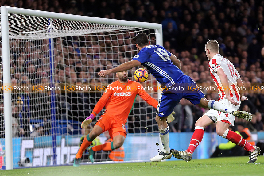 Diego Costa of Chelsea scores the third goal during Chelsea vs Stoke City, Premier League Football at Stamford Bridge on 31st December 2016