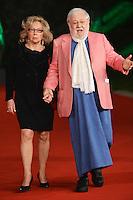 Paolo Villaggio and his wife.Roma 9/11/2012 Auditorium.Festival del Cinema di Roma.Foto Guido Aubry Elipics