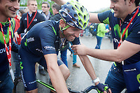 "race winner Alejandro Valverde (ESP/Movistar) is super happy with his 3rd win of ""La Doyenne"" after the finish<br /> <br /> 101th Liège-Bastogne-Liège 2015"