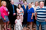 baby Kylie Bergin who was christened in st. Mary's Church, Listowel by Canon Declan O'Connor on Saturday last and afterwards at Brosnan's Bar, Listowel. L-R : Martina Weeks, Eugene Weeks, Melissa, Kylie & Matthew  Bergin, Jenny  Bergin, Lia & Georgina Bergin & Billy Bergin. Katie Bergin in front.