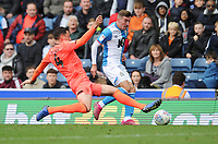 Blackburn Rovers' Joe Rothwell is tackled by Huddersfield Town's Tommy Elphick<br /> <br /> Photographer Kevin Barnes/CameraSport<br /> <br /> The EFL Sky Bet Championship - Blackburn Rovers v Huddersfield Town - Saturday 19th October 2019 - Ewood Park - Blackburn<br /> <br /> World Copyright © 2019 CameraSport. All rights reserved. 43 Linden Ave. Countesthorpe. Leicester. England. LE8 5PG - Tel: +44 (0) 116 277 4147 - admin@camerasport.com - www.camerasport.com