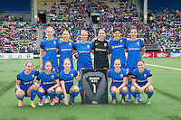 Seattle, WA - Saturday, May 14, 2016: The starting XI for the Seattle Reign FC The Portland Thorns FC and the Seattle Reign FC played to a 1-1 tie during a regular season National Women's Soccer League (NWSL) match at Memorial Stadium.