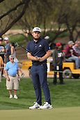 January 31st 2019, Scotsdale, Arizona, USA; Tyrrell Hatton watches his third shot on the 9th green during the first round of the Waste Management Phoenix Open