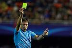 Referee Matej Jug shows a yellow card - UEFA Champions League Group H - Valencia CF vs Olympique Lyonnais - Mestalla Stadium - Valencia- Spain - 09th December 2015 - Pic David Aliaga/Sportimage