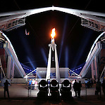 8/29/04 --Al Diaz/Miami Herald/KRT--Athens, Greece--The Closing Ceremony at the Athens 2004 Olympic Games. As seen from the outside, the Olympic Flame is extinquished ceremoniously.