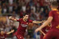 Calcio, Serie A: Roma - Atalanta, Stadio Olimpico, 27 agosto, 2018.<br /> Roma's Javier Pastore celebrates after scoring during the Italian Serie A football match between Roma and Atalanta at Roma's Stadio Olimpico, August 27, 2018.<br /> UPDATE IMAGES PRESS/Isabella Bonotto