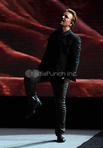 Paul David Hewson (Bono), singer of the Irish band U2, on stage at the Olympic Stadium in Berlin, Germany, 12 July 2017. Photo: Britta Pedersen/dpa-Zentralbild/ZB /MediaPunch ***FOR USA ONLY***