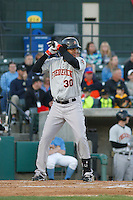 Frederick Keys infielder Jomar Reyes (30) at bat during a game against the Myrtle Beach Pelicans at Ticketreturn.com Field at Pelicans Ballpark on April 8, 2016 in Myrtle Beach, South Carolina. Frederick defeated Myrtle Beach 5-2. (Robert Gurganus/Four Seam Images)