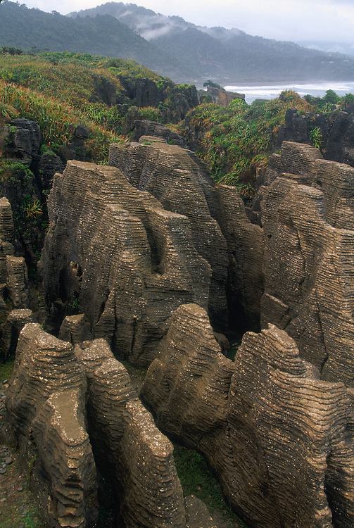 Pancake rock formations at Dolomite Point, Paparoa NP, South Island, New Zealand