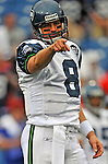 7 September 2008:  Seattle Seahawks' quarterback Matt Hasselbeck warms up prior to a game against the Buffalo Bills at Ralph Wilson Stadium in Orchard Park, NY. The Bills defeated the Seahawks 34-10 in the season opening game...Mandatory Photo Credit: Ed Wolfstein Photo
