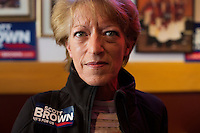 Brown supporter Claudia Ferrecchia, of Marlboro, poses for a portrait meeting of the Law Enforcement Coalition for Brown at Johnny Jack's Restaurant in Milford, Massachusetts, USA, on Thurs., Nov. 2, 2012. Senator Scott Brown is seeking re-election to the Senate.  His opponent is Elizabeth Warren, a democrat.