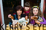 Tjitske Breen, Lily Breen, Ella Breen, with Ruby, Poppy and Robin, 3 of the 35 Adopted Rescued Battery Hens