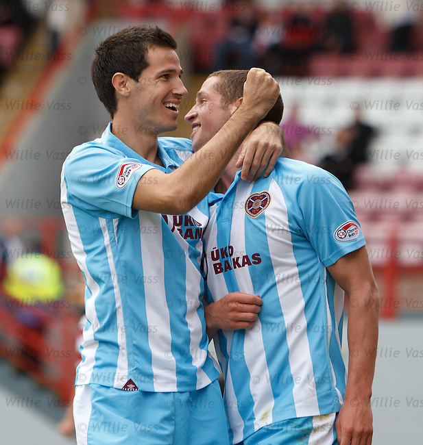 Ryan McGowan rushes in to celebrate with Hearts goalscorer Calum Elliott
