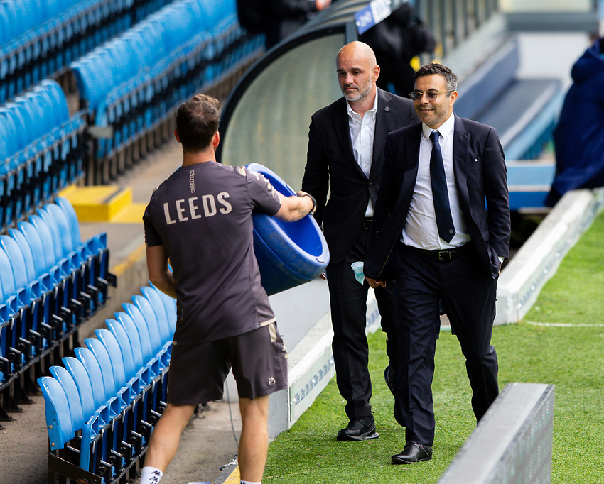 Leeds United owner Andrea Radrizzani chats by the side of the pitch<br /> <br /> Photographer Alex Dodd/CameraSport<br /> <br /> The EFL Sky Bet Championship - Leeds United v Charlton Athletic - Wednesday July 22nd 2020 - Elland Road - Leeds <br /> <br /> World Copyright © 2020 CameraSport. All rights reserved. 43 Linden Ave. Countesthorpe. Leicester. England. LE8 5PG - Tel: +44 (0) 116 277 4147 - admin@camerasport.com - www.camerasport.com