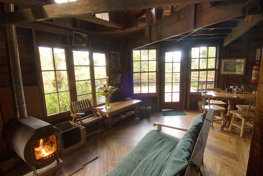 "Interior view of beautiful wood ""off the grid"" cabins at Los Quetzales,"