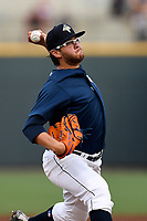 Starting pitcher Anthony Kay (18) of the Columbia Fireflies struck out eight batters in seven innings to earn the 9-2 win against the Greenville Drive on Saturday, May 26, 2018, at Spirit Communications Park in Columbia, South Carolina. (Tom Priddy/Four Seam Images)