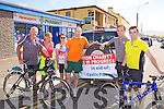 On Saturday thirty cyclists from the Killorglin area took part in a charity cycle around The Ring of Kerry in aid of Cystic Fibrosis, pictured here in Waterville taking a break were l-r; Donal Dowd, Una Morney, Karen Coleman, Mark Healy, Noel Davis & Mike Coleman.....More info contact John Healy Bank of Ireland Killorglin (home no 9761889)