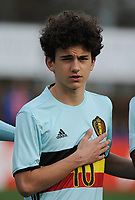 20170314 - UDEN , NETHERLANDS : Belgian Theo Leoni pictured during the UEFA Under 17 Elite round game between The Netherlands U17 and Belgium U17, on the first matchday in group 5 of the Uefa Under 17 elite round in The Netherlands , tuesday 14 th March 2017 . PHOTO SPORTPIX.BE | DIRK VUYLSTEKE