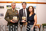 Lieutenant Colonel Paul Carey, Officer Commanding the 12th Battalion, Limerick, Launches  the Book The History of Ballymullen Barracks here with author  Robert Tangney and wife EvelynTangney at Kerry county Library on Tuesday