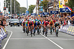 The chasing group including Sam Bennett (IRL) cross the finish line at the end of the Elite Men's Road Race during the 2019 UEC European Road Championships, Alkmaar, The Netherlands, 11 August 2019.<br /> <br /> Photo by Thomas van Bracht / PelotonPhotos.com | All photos usage must carry mandatory copyright credit (Peloton Photos | Thomas van Bracht)