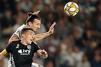 CARSON, CA - SEPTEMBER 15: Zlatan Ibrahimovic #9 of the Los Angeles Galaxy appears to head a ball past Matt Besler #5 of Sporting Kansas City during a game between Sporting Kansas City and Los Angeles Galaxy at Dignity Health Sports Complex on September 15, 2019 in Carson, California.