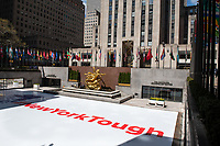 New York, New York City, during the time of the Coronavirus. New York Tough sign at 30 Rock.