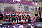 Nippo-Vini Fantini team on the podium at sign on before the start of the Strade Bianche Eroica Pro 2015 cycle race 200km over the white gravel roads from San Gimignano to Siena, Tuscany, Italy. 8th March 2015<br /> Photo: Otto de Waele/www.newsfile.ie