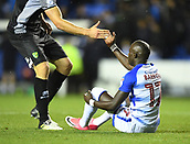 30th September 2017, Madejski Stadium, Reading, England; EFL Championship football, Reading versus Norwich City; Christoph Zimmermann of Norwich City helps Modou Barrow of Reading to his feet after the final whistle