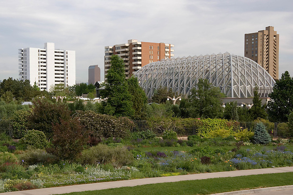 Denver Botanic Gardens and downtown skyline, Denver, Colorado, USA. .  John offers private photo tours in Denver, Boulder and throughout Colorado. Year-round Colorado photo tours.