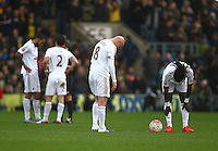 Dejected Jonjo Shelvey of Swansea and Bafetimbi Gomis of Swansea   during the Emirates FA Cup 3rd Round between Oxford United v Swansea     played at Kassam Stadium  on 10th January 2016 in Oxford