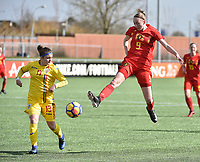 20180326 - ZALTBOMMEL , THE NETHERLANDS : Belgian Lisa Petry (R) and Romanian Ioana Edvina Ciontos (L) pictured during the UEFA Women Under 17 Elite round game between Belgium WU17 and Romania WU17, on the second matchday in group 1 of the Uefa Women Under 17 elite round in The Netherlands , monday 26 th March 2018 . PHOTO SPORTPIX.BE    DIRK VUYLSTEKE