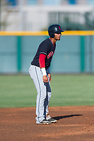AZL Indians 1 first baseman Miguel Jerez (26) takes his lead off second base during an Arizona League game against the AZL Cubs 1 at Sloan Park on August 27, 2018 in Mesa, Arizona. The AZL Cubs 1 defeated the AZL Indians 1 by a score of 3-2. (Zachary Lucy/Four Seam Images)