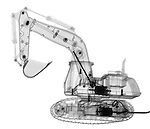 X-ray image of an excavator (black on white) by Jim Wehtje, specialist in x-ray art and design images.