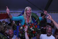 SKÛTSJESILEN: LEMMER: 08-08-2015, IFKS skûtsjesilen, Jehanne Prins schipper van 'De Lege Wâlden' Terherne (C klasse), ©foto Martin de Jong